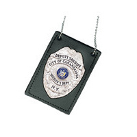 Boston Leather - Neck Chain Badge- Id Holder