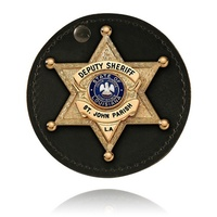 Boston Leather - 3 1/2  ROUND BADGE HOLDER, SWI