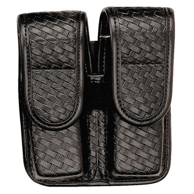 Bianchi 7902 Accumold Double Magazine Pouch Brass Snaps- Berreta 84- Basketweave Black