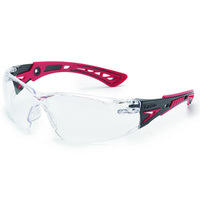 Bolle RUSH Safety Glasses - Black/Red Frame - Clear Lens