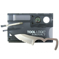 Tool Logic Survival Card w/ Fire Starter/Compass - Charcoal