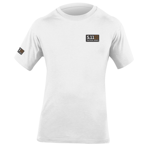 5.11 Tactical T-Shirt w/ Logo on Left Chest and Right Sleeve - White - 2X-Large