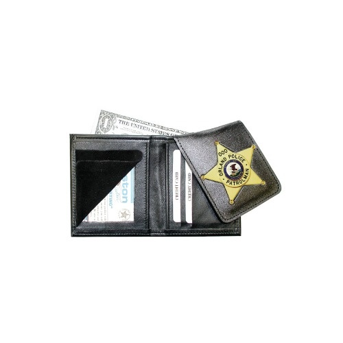 Boston Leather - BADGE WALLET WITH FLIPOUT BADG