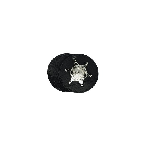 Boston Leather - ROUND CLIP-ON BADGE W/VEL SWIV