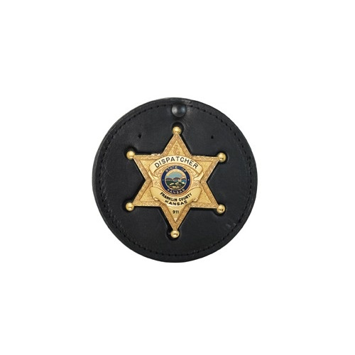 Boston Leather - SMALL ROUND CLIP-ON BADGEHOLDE