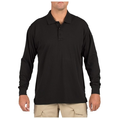 5.11 Tactical Men's Long Sleeve Tactical Polo - Black - Large