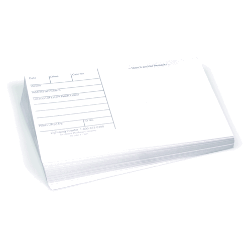 ARMOR FORENSICS - 3X5 LATENT PRINT CARDS, WHITE