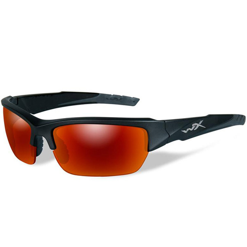 Wiley X Valor Glasses - Matte Black Frame - Polarized Crimson Mirror/Black Ops