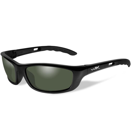 Wiley X P-17 Sunglasses with Polarized Smoke Green Lens / Gloss Black Frame