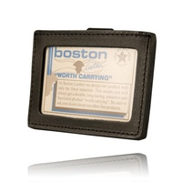 Boston Leather - CLIP-ON HORIZONTAL ID HOLDER