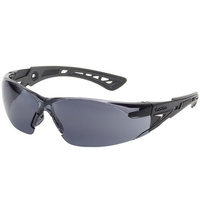 Bolle RUSH Safety Glasses - Black/Gray Frame - Smoke Lens